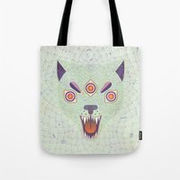 cosmic Tote Bags featuring Cosmic Cat by LordofMasks