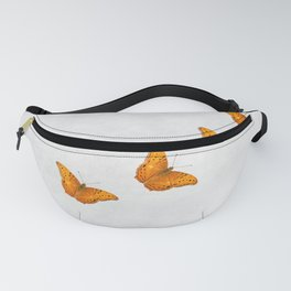 Beautiful butterflies on a textured white background Fanny Pack