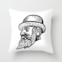 Hipster Wearing Bowler Hat Etching Black and White Throw Pillow