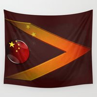 china Wall Tapestries featuring China by ilustrarte
