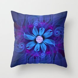 A Snowy Edelweiss Blooming as a Blue Origami Orchid Throw Pillow