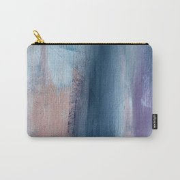 In a Blur: an abstract mixed media piece in pinks, blues, and purple Carry-All Pouch