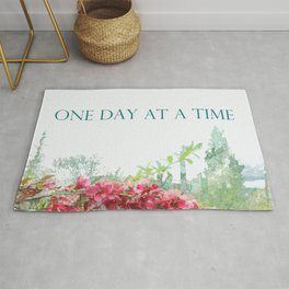 One Day at a Time Fence Flowers Rug