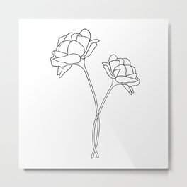 Minimal Flower Stems Metal Print