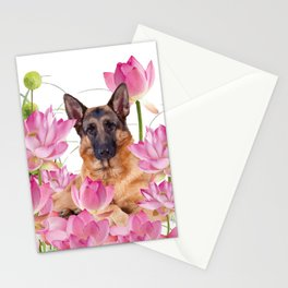 German Sheep Dog Lotos Field Stationery Cards