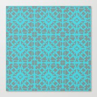 gray pattern Canvas Prints featuring Turquoise and Gray Pattern  by xiari