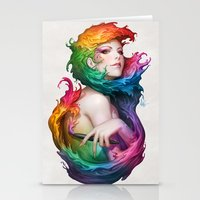 pen Stationery Cards featuring Angel of Colors by Artgerm™