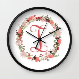 Personal monogram letter 'I' flower wreath Wall Clock
