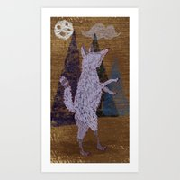 coyote Art Prints featuring COYOTE by Kevin Whipple