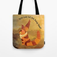 nausicaa Tote Bags featuring Teto the Fox-Squirrel by HSuits