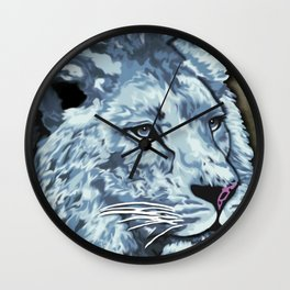 Grey Blue Painted Lion Wall Clock
