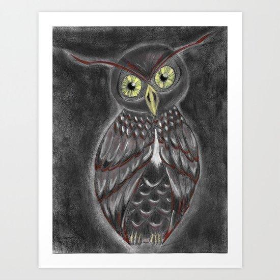 Stylized Owl (Darkened Version) Art Print