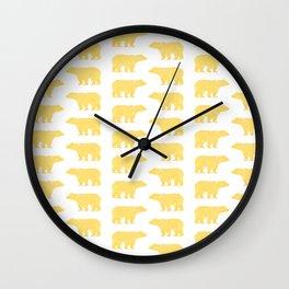 Gold Bears - foil glitter sparkle gold pattern print bear golf golfing nature trendy hipster sports Wall Clock