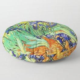 Purple Irises at St. Remy by Vincent Van Gogh Floor Pillow
