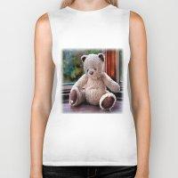 teddy bear Biker Tanks featuring Teddy Bear  by Fran Walding