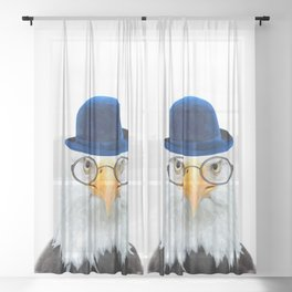 Funny Eagle Portrait Sheer Curtain
