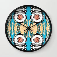 scuba Wall Clocks featuring Scuba Squad by Marc Douglas Weiss