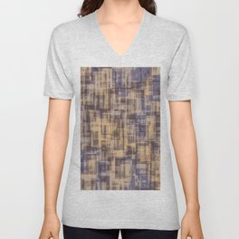 psychedelic geometric square pattern abstract in brown and blue Unisex V-Neck