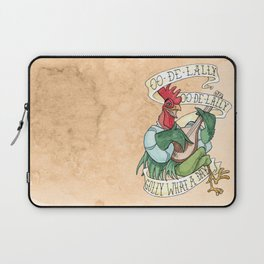 Alan-A-Dale Rooster : OO-De-Lally Golly What A Day Tattoo Watercolor Painting Laptop Sleeve