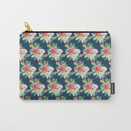 Watercolor Floral Bundles on Blue Carry-All Pouch