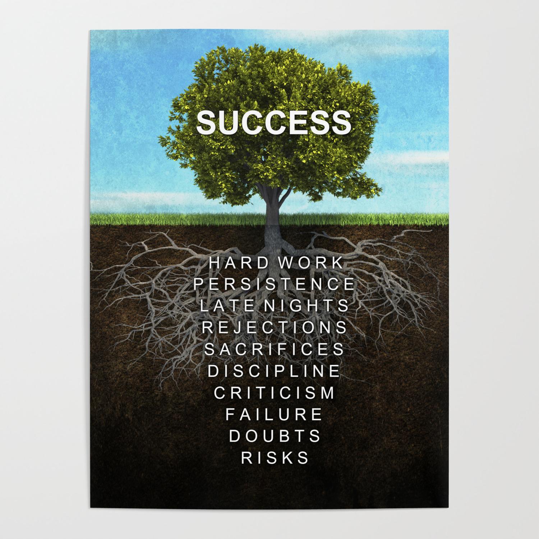 Success Tree Motivational Wall Art Entrepreneur Hustle Motivation Poster By Successhuntersprints Society6