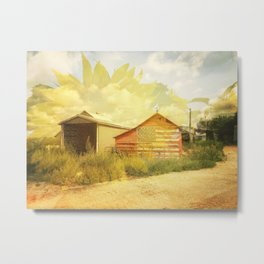 Barn And Sunflower Double Exposure Metal Print