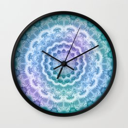 White Mandala on Teal, Purple and Navy Wall Clock
