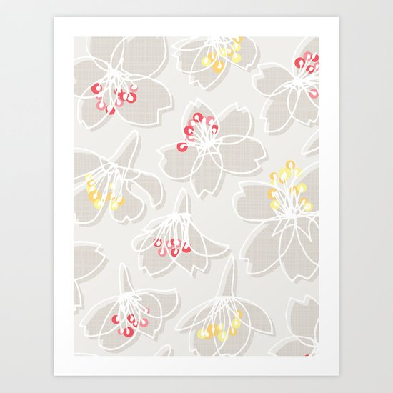 Cherry Blossom: Pattern Art Print