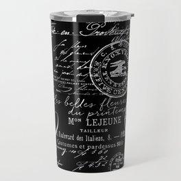 White Vintage Handwriting on Black Travel Mug