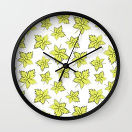 Maple leaves lime Wall Clock