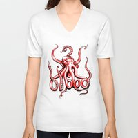 gangster V-neck T-shirts featuring Gangster Octopus by Milo Firewater