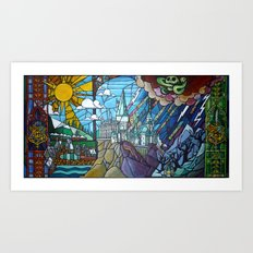 Hogwarts stained glass style Art Print