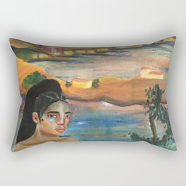 FKA Twigs as Dali's Self Portrait with Neck of Raphael Rectangular Pillow