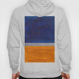 Minimalist Mid Century Rothko Color Field Navy Blue Yellow Ochre Grey Accent Square Colorblock Hoody