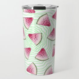 Summery Cute Watercolor Watermelons on Green Swirl Travel Mug