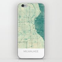 milwaukee iPhone & iPod Skins featuring Milwaukee Map Blue Vintage by City Art Posters