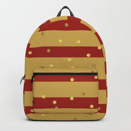 Christmas Golden confetti on Gold and Red Stripes Backpack