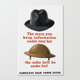 Careless Talk Costs Lives -- WW2 Canvas Print