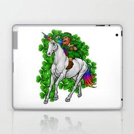 Leprechaun Rides Unicorn   Happy St. Patrick's Day Laptop & iPad Skin