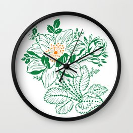 Japanese Style Green with Orange Flowers Wall Clock