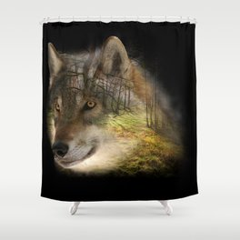 Wolf in the Forrest Shower Curtain