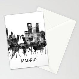 Madrid Spain Skyline BW Stationery Cards
