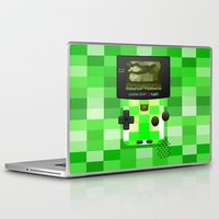 warcraft Laptop & iPad Skins featuring Gameboy Color Green Creeper by Veylow