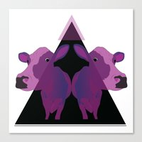 psychadelic Canvas Prints featuring Psychadelic cows by Lisa Hamberg