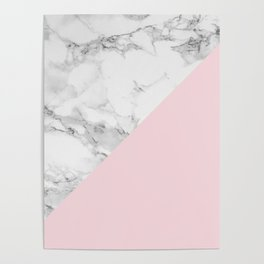Marble + Pastel Pink Poster