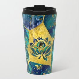 Lotus Flower on Gemstone Crystal Voronoi diagram Travel Mug