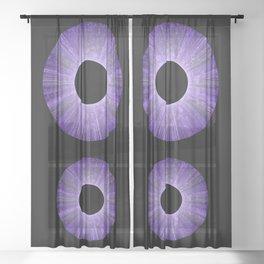 Purple Iris Abstract Universe Art Sheer Curtain