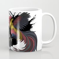 cock Mugs featuring Cock Fight by Ashley Jones