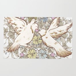 Retro Spring Love Birds Rug