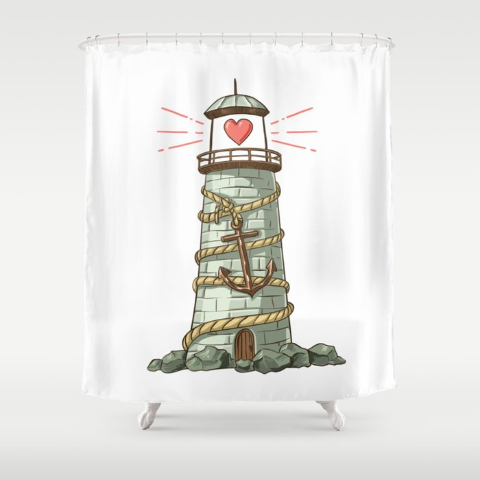 Heart Lighthouse Shower Curtain